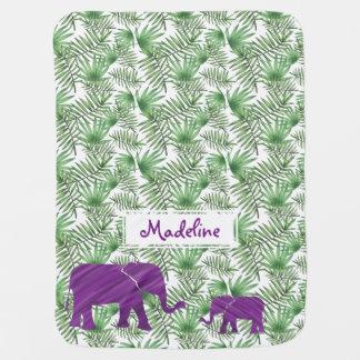 Purple Elephants And Palm Leaves Jungle Baby Blanket