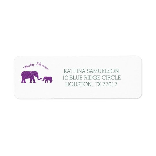 Purple Elephants Baby Shower Return Address Label
