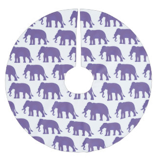 Purple elephants brushed polyester tree skirt