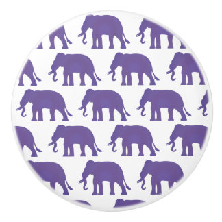 Purple elephants ceramic knob