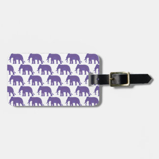 Purple elephants luggage tag
