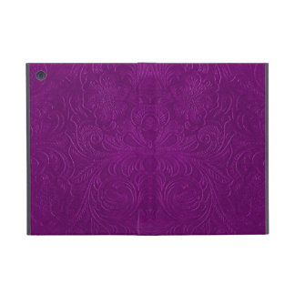 Purple Embossed Floral Design Suede Leather Look Cover For iPad Mini