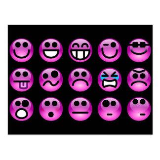 Purple Emoticons Postcard