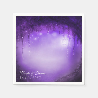 Purple Enchanted Forest Fantasy Wedding Reception Disposable Napkin