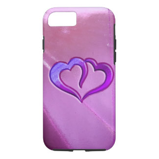 Purple Engraved Hearts iPhone 7 Case