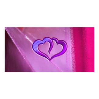 Purple Engraved Hearts Photo Card Template