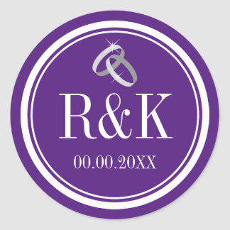 Purple entwined wedding rings party favor stickers
