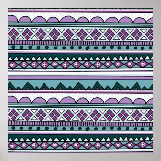 Purple ethnic pattern print
