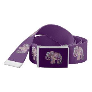 Purple ethno tribal batik elephant parade belt