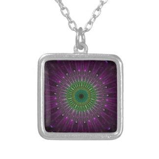 Purple Eye Fractal Square Pendant Necklace
