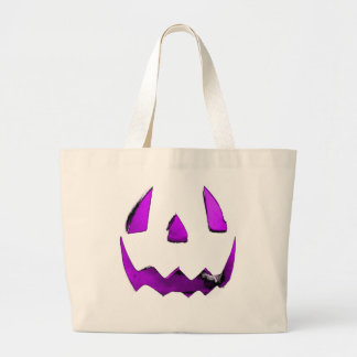 Purple Eye Jack O Lantern Face Canvas Bags