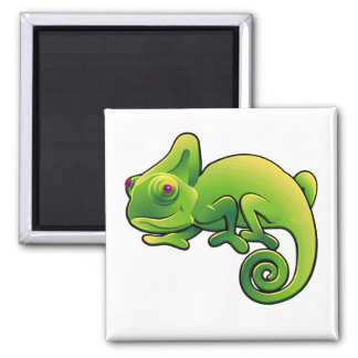 Purple Eyed Lime Green Chameleon Magnet