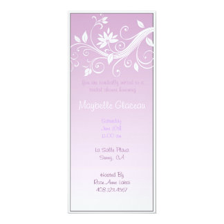 Purple Fade Flower Bridal Shower 10 Cm X 24 Cm Invitation Card