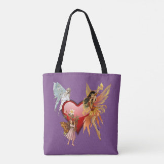 Purple Fairies Heart Tote Bag