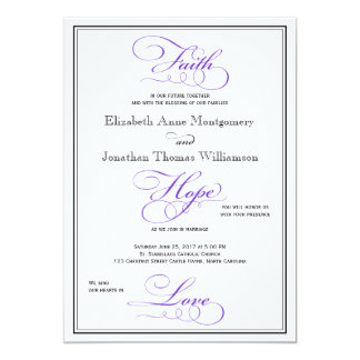 Purple Faith Hope Love Script Wedding Invitation