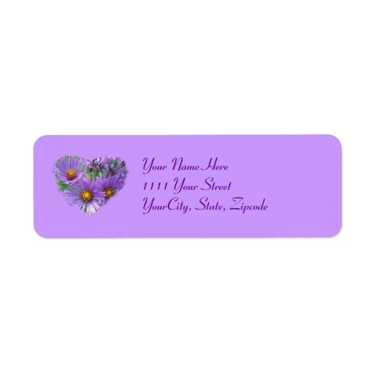 Purple Fall Asters Wildflower Label Return Address Label