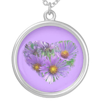 Purple Fall Asters Wildflower Necklace