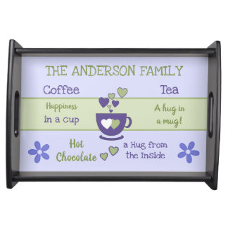 Purple Family name coffee tea hot chocolate Serving Tray