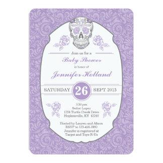 Purple Fancy Damask Skull Baby Shower Invitation