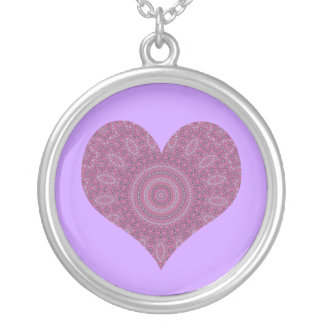 Purple fancy heart kaleidoscope necklace