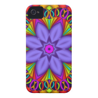 Purple Fantasy Flower on decorative background Case-Mate iPhone 4 Case