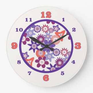 Purple Fantasy Flower Pattern Large Clock