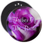 Purple Father Of The Bride Rose Pinback Button