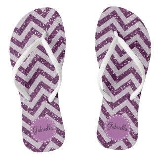 Purple Fau Glitter Chevron Personalized Flip Flops