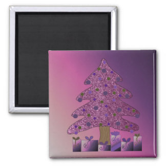 Purple Faux Glitter Christmas Tree Magnet