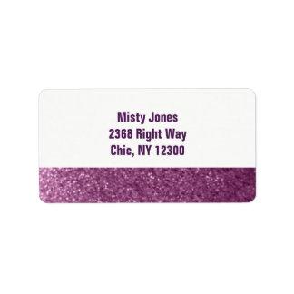 Purple Faux Glitter New Address Address Label