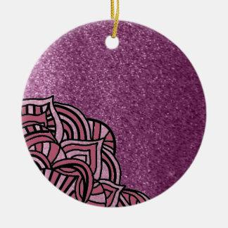 Purple Faux Glitter With Medallion Design Ceramic Ornament