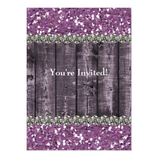 Purple Faux Glitter Wood Rhinestones Bridal Shower Card