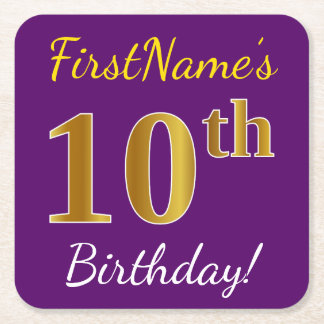 Purple, Faux Gold 10th Birthday + Custom Name Square Paper Coaster