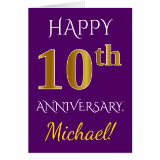 Purple, Faux Gold 10th Wedding Anniversary + Name Card