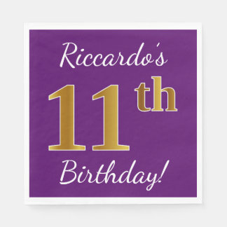 Purple, Faux Gold 11th Birthday + Custom Name Disposable Napkins
