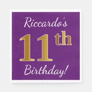 Purple, Faux Gold 11th Birthday + Custom Name Disposable Serviette
