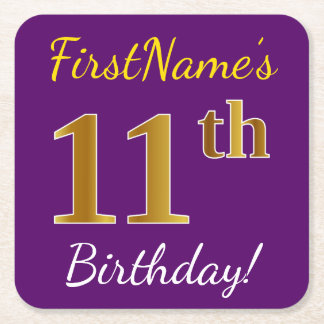 Purple, Faux Gold 11th Birthday + Custom Name Square Paper Coaster