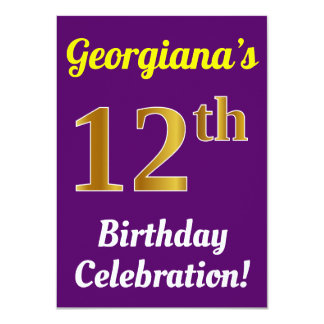 Purple, Faux Gold 12th Birthday Celebration + Name Card