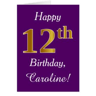 Purple, Faux Gold 12th Birthday + Custom Name Card