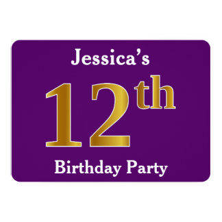 Purple, Faux Gold 12th Birthday Party; Custom Name Card