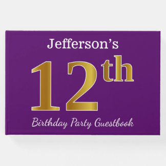 Purple, Faux Gold 12th Birthday Party; Custom Name Guest Book