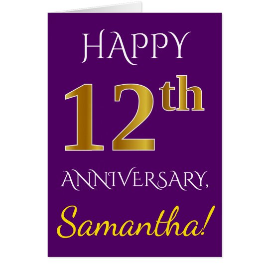 Purple, Faux Gold 12th Wedding Anniversary + Name Card
