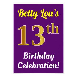 Purple, Faux Gold 13th Birthday Celebration + Name Card