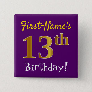 Purple, Faux Gold 13th Birthday, With Custom Name 15 Cm Square Badge