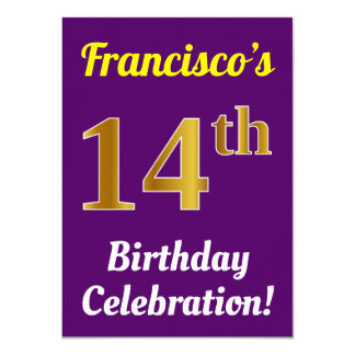Purple, Faux Gold 14th Birthday Celebration + Name Card