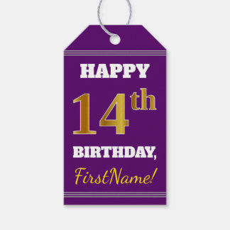 Purple, Faux Gold 14th Birthday + Custom Name Gift Tags