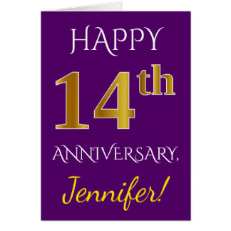 Purple, Faux Gold 14th Wedding Anniversary + Name Card