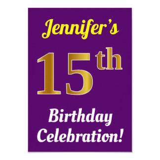 Purple, Faux Gold 15th Birthday Celebration + Name Card