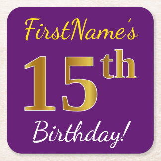 Purple, Faux Gold 15th Birthday + Custom Name Square Paper Coaster