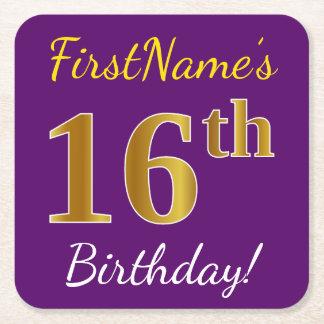 Purple, Faux Gold 16th Birthday + Custom Name Square Paper Coaster